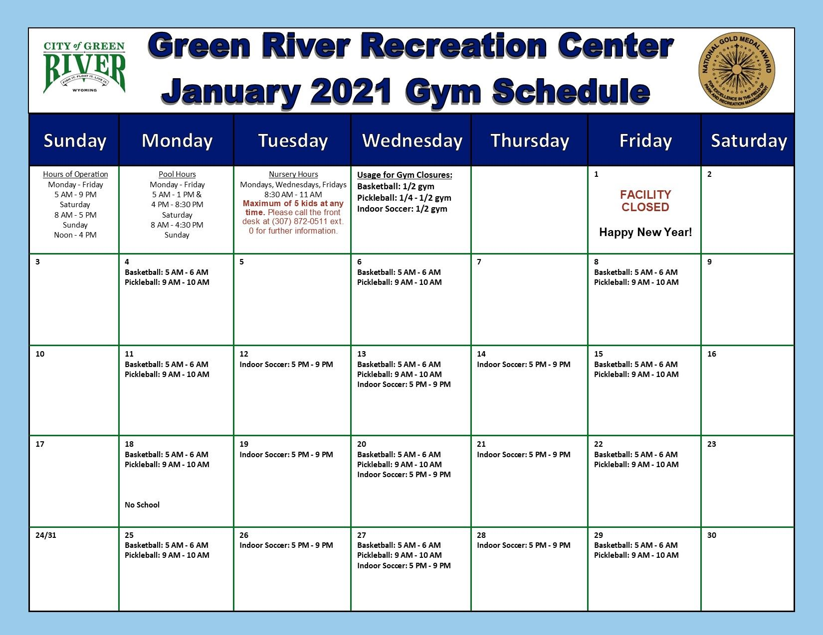 1 Gym Schedule January 2021